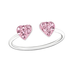 Children's Silver Double Heart Adjustable Ring with Crystal