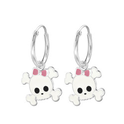 Children's Silver Ear Hoop with Hanging Skull - White