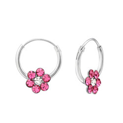 Children's Silver Flower Ear Hoop with Crystal - EF-21306