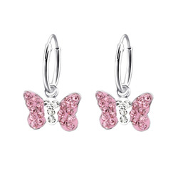 Children's Silver Ear Hoop with Hanging Butterfly and Crystal - Pink