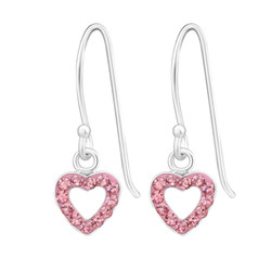 Children's Silver Heart Earrings with Crystal
