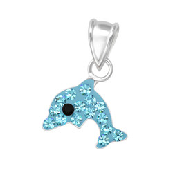 Children's Silver Dolphin Pendant with Crystal