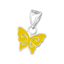 Children's Silver Butterfly Pendant - Yellow
