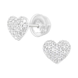 Premium Children's Silver Heart Ear Studs with Cubic Zirconia - EF21654