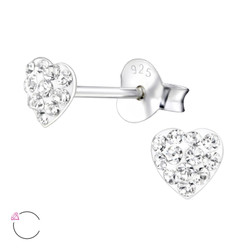 La Crystale Children's Silver Heart Ear Studs with Crystals from Swarovski® - EF21919