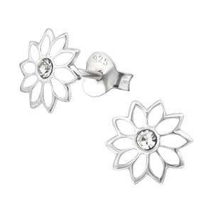 Children's Silver Flower Ear Studs with Crystal - EF22018