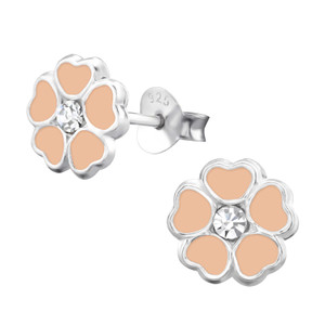 Children's Silver Flower Ear Studs with Crystal - EF22044