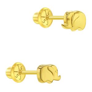 14k Yellow Gold Lucky Elephant Screw Back Stud Earrings For Toddler & Little Girls
