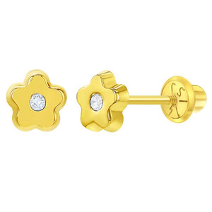 14k Yellow Gold Young Girls 5mm Clear Cubic Zirconia Flower Screw Back Stud Earrings
