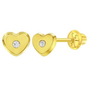 14k Yellow Gold Girls Classic 5mm Cubic Zirconia Heart Stud Screw Back Stud Earrings