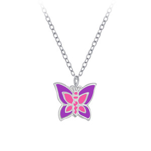 Children's Silver Butterfly Necklace - SJ29077