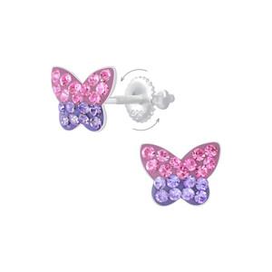 Children's Silver Butterfly Screw Back Stud Earrings - SJ29097