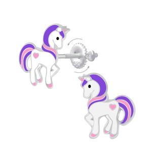Children's Silver Unicorn Screw Back Stud Earrings - SJ29118