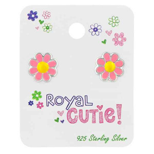 Silver Flower Ear Studs with Epoxy on Royal Cutie Card