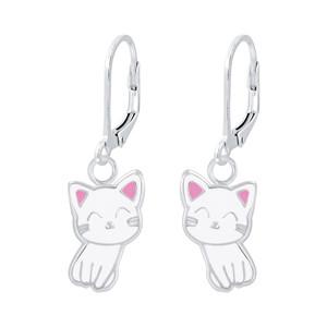 Children's Silver Cat Lever Back Earrings