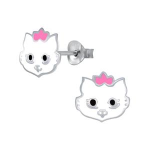 Children's Silver Cat Stud Earrings - SJ29135