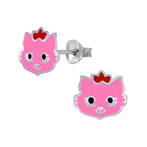 Children's Silver Cat Stud Earrings - SJ29136