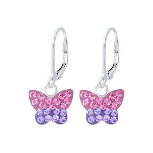 Children's Silver Butterfly Lever Back Earrings