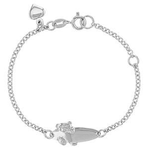 "925 Sterling Silver Teddy Bear ID Bracelet Toddler & Girls Adjustable 5"" - 6"""