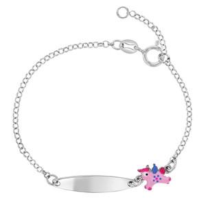 925 Sterling Silver Pink Enamel Unicorn Girls Tag Id Bracelet Kids Adjustable