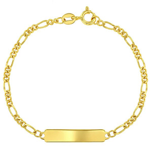 "Unisex - 925 Sterling Silver Gold Plated Classic Unisex ID Bracelet Identification Kids Plain 5.5"""