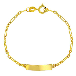"Gold Plated 925 Sterling Silver Tag ID Toddler Bracelet Figaro Link Identification Kids 5"""