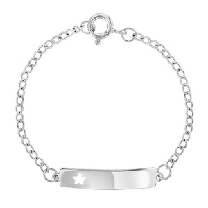 "925 Sterling Silver Star ID Bracelet Tag Toddlers or Girls Adjustable 5"" - 6"""