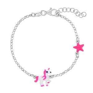 "925 Sterling Silver Girl's 5-6"" Adjustable Magical Unicorn Link Bracelet Toddlers"
