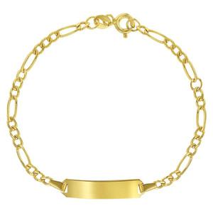 14k Yellow Gold Identification Tag ID Plain Adjustable Bracelet for Children