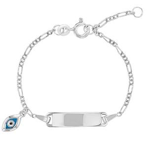 Unisex - 925 Sterling Silver Evil Eye Protection Unisex Tag ID Bracelet Toddler Adjustable