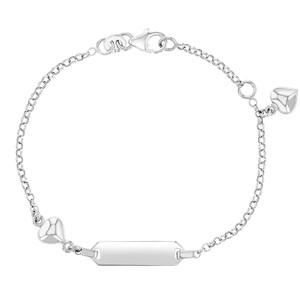 925 Sterling Silver Girls Adjustable Heart ID Bracelet Identification Toddler