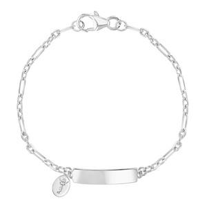 "Unisex - 925 Sterling Silver Unisex Divine Child Tag ID Bracelet Identification Kids 5.5"""