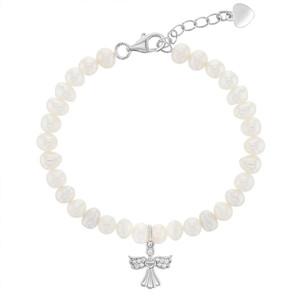 "925 Sterling Silver 5.5"" - 6.5"" Adjustable Fresh Water Cultured Pearl Girls Guardian Angel Bracelet"