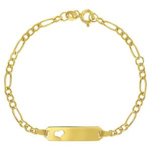 14k Yellow Gold Figaro Chain Identification Heart Adjustable Bracelet Children