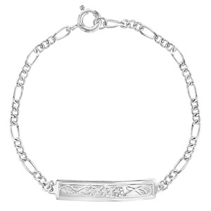 """925 Sterling Silver Flower Tag ID Bracelet for Toddlers or Little Girls 5.5"""""""