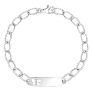 "925 Sterling Silver Identification Butterfly Toddler Bracelet Little Girls 5.5"""