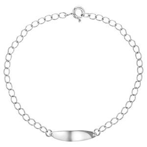 "925 Sterling Silver Identification Tag ID Children Girl Bracelet 6"""