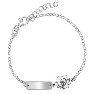 925 Sterling Silver Tag ID Guardian Angel Bracelet for Babies Kids Adjustable