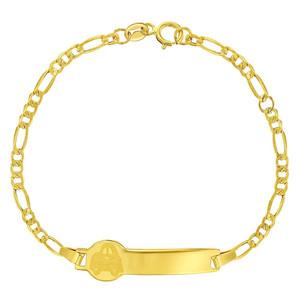 14k Yellow Gold Identification Tag ID Bracelet Children Kids Baby Adjustable