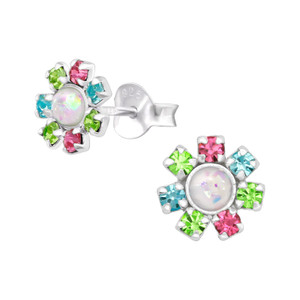 Synthetic Opal & Silver Flower Ear Studs with Crystal