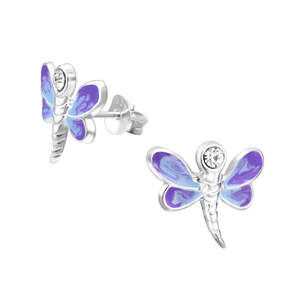 Children's Silver Dragonfly Ear Studs with Crystal