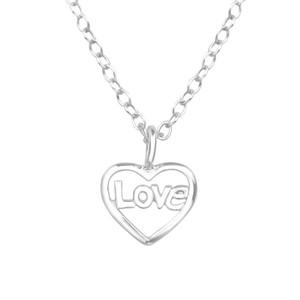 Children's Silver Heart Love Necklace