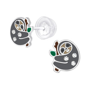 Premium Children's Silver Sloth Ear Studs with Crystal