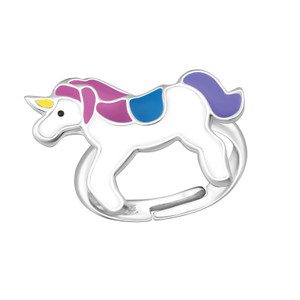 Children's Silver Unicorn Adjustable Ring - Purple