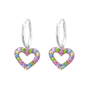 Children's Silver Multi Color Ear Hoop with Hanging Heart and Crystal