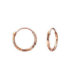 Silver Diamond Cut 12mm Ear Hoops - Rose Gold