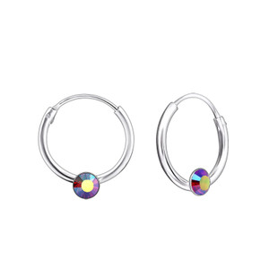 Silver - Round Ear Hoops with Crystal
