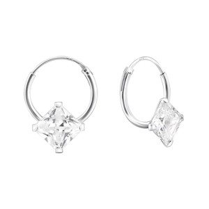 Silver Square Ear Hoops with Cubic Zirconia