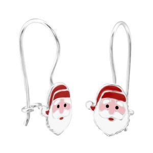 Children's Silver Santa Claus Earrings