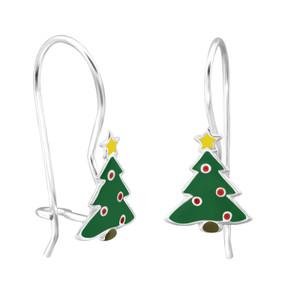 Children's Silver Christmas Tree Earrings